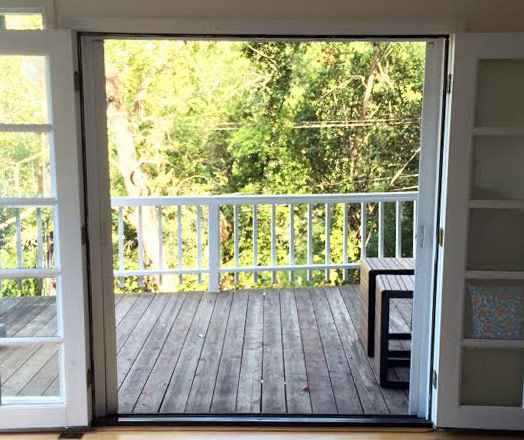 Roll-Away® Retractable French Screen Door (open)