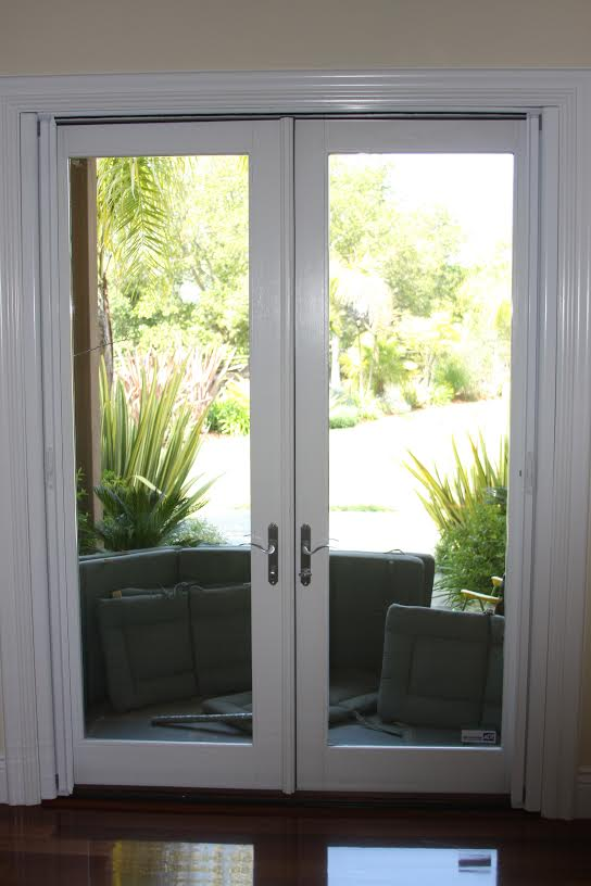 Roll-Away® retractable French door (open, inside mount)