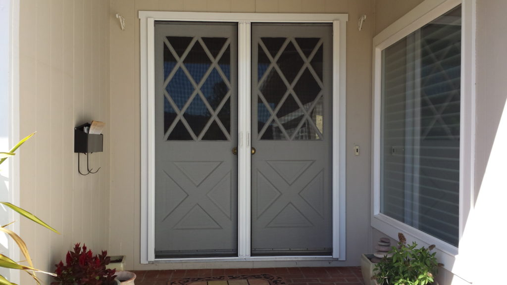 Roll Away Retractable French Screen Door Closed