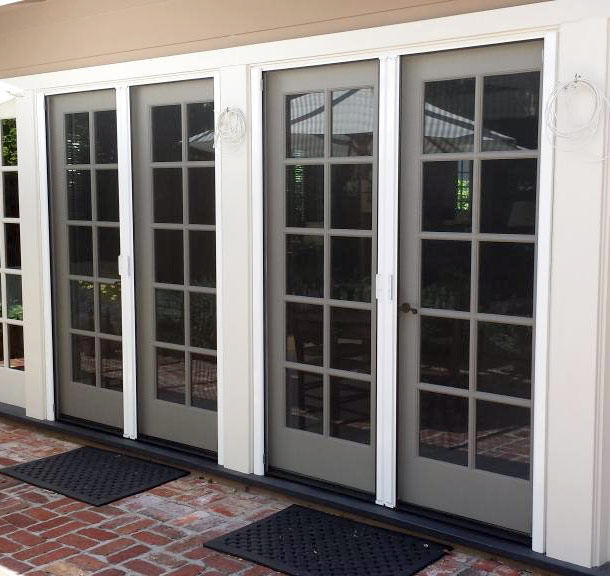 Roll Away French Retractable Screen Door Closed